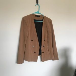 Camel colored blazer with statement buttons